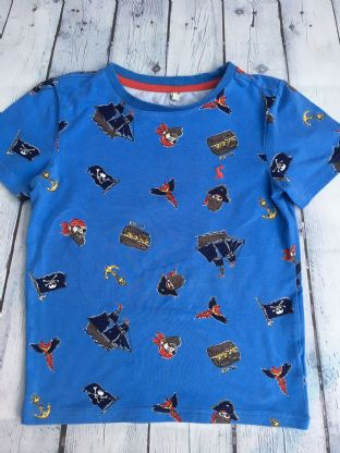 Joules blue pirate tshirt age 7-8